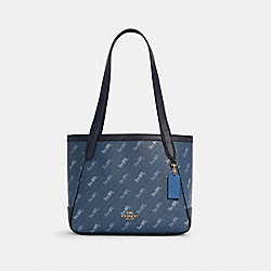 HORSE AND CARRIAGE TOTE 27 WITH HORSE AND CARRIAGE DOT PRINT - C4060 - IM/DENIM
