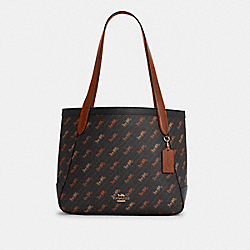 HORSE AND CARRIAGE TOTE WITH HORSE AND CARRIAGE DOT PRINT - C4061 - IM/BLACK