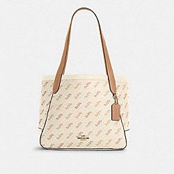 HORSE AND CARRIAGE TOTE WITH HORSE AND CARRIAGE DOT PRINT - C4061 - IM/CREAM
