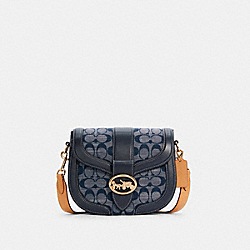 COACH C4066 - GEORGIE SADDLE BAG IN SIGNATURE CHAMBRAY IM/DENIM MULTI