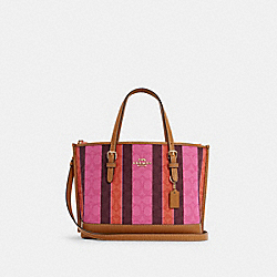 MOLLIE TOTE 25 IN SIGNATURE JACQUARD WITH STRIPES - C4086 - IM/PINK/BURGUNDY MULTI