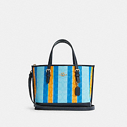 MOLLIE TOTE 25 IN SIGNATURE JACQUARD WITH STRIPES - C4086 - IM/BLUE/YELLOW MULTI