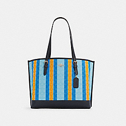 MOLLIE TOTE IN SIGNATURE JACQUARD WITH STRIPES - C4088 - IM/BLUE/YELLOW MULTI