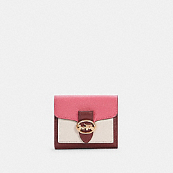 COACH C4089 - GEORGIE SMALL WALLET IN COLORBLOCK IM/CHALK/CONFETTI PINK MULTI
