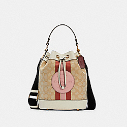 DEMPSEY DRAWSTRING BUCKET BAG IN SIGNATURE JACQUARD WITH STRIPE AND COACH PATCH - C4102 - IM/LT KHAKI/POWDER PINK MULTI