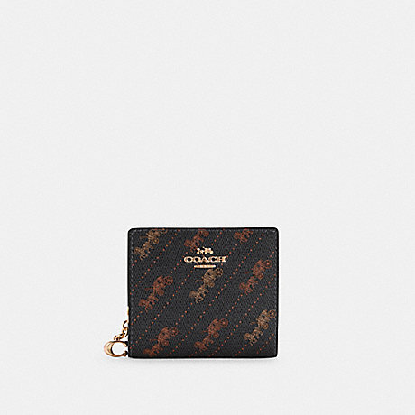 COACH C4104 SNAP WALLET WITH HORSE AND CARRIAGE DOT PRINT IM/BLACK