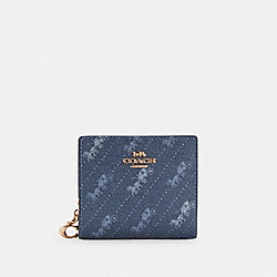 SNAP WALLET WITH HORSE AND CARRIAGE DOT PRINT - C4104 - IM/DENIM