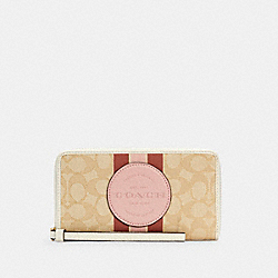 COACH C4110 - DEMPSEY LARGE PHONE WALLET IN SIGNATURE JACQUARD WITH STRIPE AND COACH PATCH IM/LT KHAKI /POWDER PINK MULTI