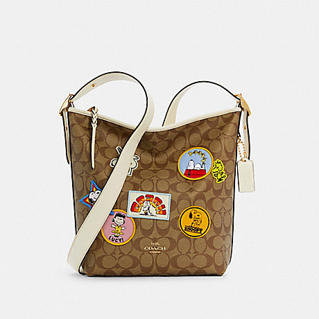 COACH C4112 COACH X PEANUTS VAL DUFFLE IN SIGNATURE CANVAS WITH VARSITY PATCHES IM/KHAKI CHALK MULTI