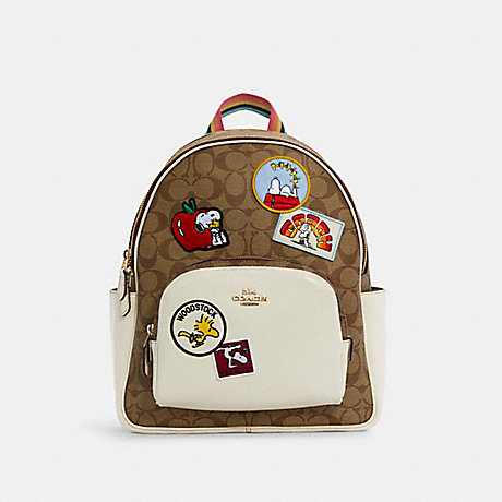 COACH C4115 COACH X PEANUTS COURT BACKPACK IN SIGNATURE CANVAS WITH VARSITY PATCHES IM/KHAKI CHALK MULTI