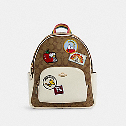 COACH C4115 - COACH X PEANUTS COURT BACKPACK IN SIGNATURE CANVAS WITH VARSITY PATCHES IM/KHAKI CHALK MULTI