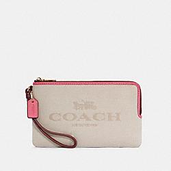 COACH C4126 Double Zip Wallet In Colorblock IM/NATURAL/MANGO MULTI