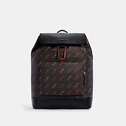 COACH C4135 Turner Backpack With Horse And Carriage Dot Print QB/BLACK/SADDLE