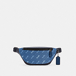 COACH C4138 - WARREN MINI BELT BAG WITH HORSE AND CARRIAGE DOT PRINT QB/PALE JEWEL BLUE