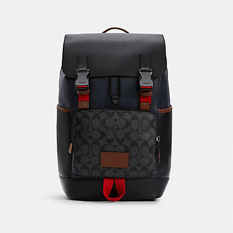 COACH C4139 TRACK BACKPACK IN COLORBLOCK SIGNATURE CANVAS QB/CHARCOAL-MIDNIGHT-MULTI