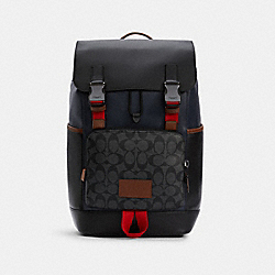 TRACK BACKPACK IN COLORBLOCK SIGNATURE CANVAS - QB/CHARCOAL MIDNIGHT MULTI - COACH C4139