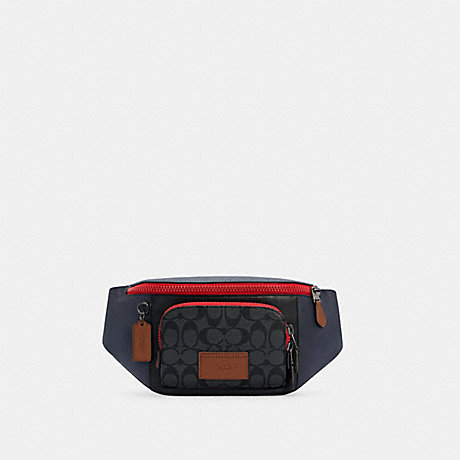 COACH C4140 TRACK BELT BAG IN COLORBLOCK SIGNATURE CANVAS QB/CHARCOAL MIDNIGHT MULTI