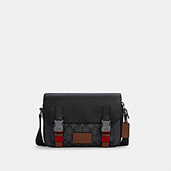 TRACK CROSSBODY IN COLORBLOCK SIGNATURE CANVAS - QB/CHARCOAL MIDNIGHT MULTI - COACH C4141