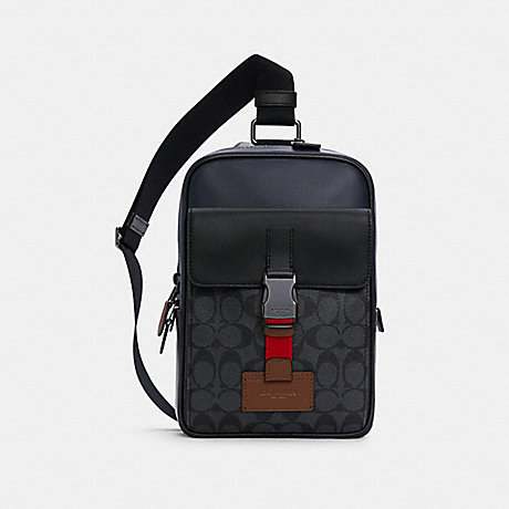 COACH C4143 TRACK PACK IN COLORBLOCK SIGNATURE CANVAS QB/CHARCOAL MIDNIGHT MULTI