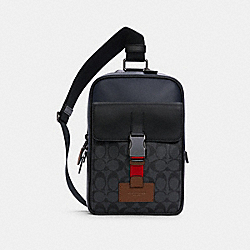 TRACK PACK IN COLORBLOCK SIGNATURE CANVAS - QB/CHARCOAL MIDNIGHT MULTI - COACH C4143