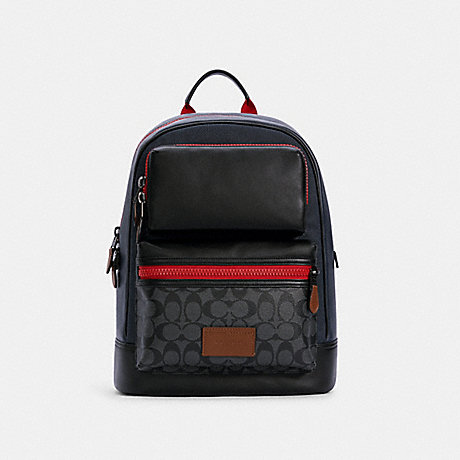 COACH C4146 RIDER BACKPACK IN COLORBLOCK SIGNATURE CANVAS QB/CHARCOAL MIDNIGHT MULTI