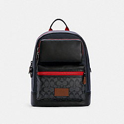 RIDER BACKPACK IN COLORBLOCK SIGNATURE CANVAS - QB/CHARCOAL MIDNIGHT MULTI - COACH C4146