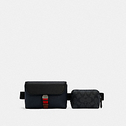COACH C4157 - RIDER DOUBLE BELT BAG IN COLORBLOCK SIGNATURE CANVAS QB/CHARCOAL MIDNIGHT MULTI