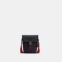 TRACK SMALL FLAP CROSSBODY IN COLORBLOCK SIGNATURE CANVAS - QB/CHARCOAL MIDNIGHT MULTI - COACH C4158