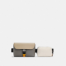 RIDER DOUBLE BELT BAG IN COLORBLOCK - QB/CHALK LIGHT GRAVEL MULTI - COACH C4159