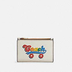 COACH C4161 Slim Bifold Card Wallet With Rainbow Roller Skate Graphic QB/CHALK MULTI