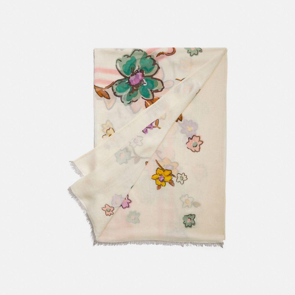 COACH 田園花卉印花長方巾
