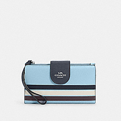 COACH C4182 - TECH PHONE WALLET IN COLORBLOCK WITH STRIPE SV/WATERFALL MIDNIGHT MULTI