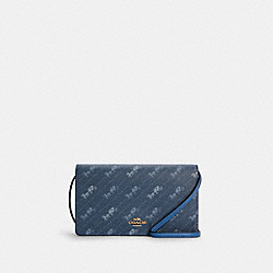 COACH C4208 - ANNA FOLDOVER CROSSBODY CLUTCH WITH HORSE AND CARRIAGE DOT PRINT IM/DENIM