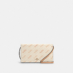 COACH C4208 - ANNA FOLDOVER CROSSBODY CLUTCH WITH HORSE AND CARRIAGE DOT PRINT IM/CREAM