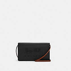 ANNA FOLDOVER CROSSBODY CLUTCH WITH HORSE AND CARRIAGE - IM/BLACK/REDWOOD - COACH C4209