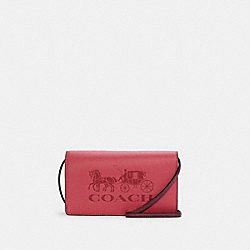 COACH C4209 - ANNA FOLDOVER CROSSBODY CLUTCH WITH HORSE AND CARRIAGE IM/POPPY/VINTAGE MAUVE