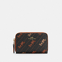 COACH C4210 - ZIP AROUND COIN CASE WITH HORSE AND CARRIAGE DOT PRINT IM/BLACK
