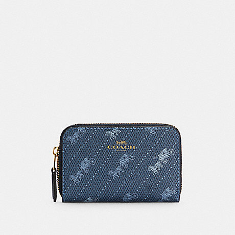 COACH C4210 ZIP AROUND COIN CASE WITH HORSE AND CARRIAGE DOT PRINT IM/DENIM