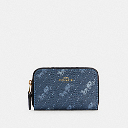 COACH C4210 - ZIP AROUND COIN CASE WITH HORSE AND CARRIAGE DOT PRINT IM/DENIM