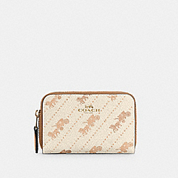COACH C4210 - ZIP AROUND COIN CASE WITH HORSE AND CARRIAGE DOT PRINT IM/CREAM