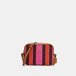 COACH C4222 - MINI CAMERA BAG IN SIGNATURE JACQUARD WITH STRIPES IM/PINK/BURGUNDY MULTI