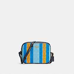 COACH C4222 - MINI CAMERA BAG IN SIGNATURE JACQUARD WITH STRIPES IM/BLUE/YELLOW MULTI