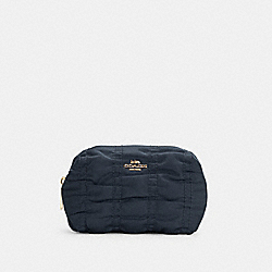 SMALL BOXY COSMETIC CASE WITH RUCHING - C4224 - IM/MIDNIGHT
