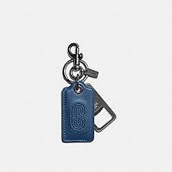COACH C4244 Bottle Opener Key Fob With Coach Patch QB/JEWEL BLUE