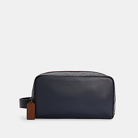 COACH C4246 LARGE TRAVEL KIT IN COLORBLOCK SIGNATURE CANVAS QB/MIDNIGHT CHARCOAL MULTI