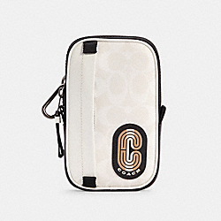 COACH C4269 - NORTH/SOUTH HYBRID POUCH IN COLORBLOCK SIGNATURE CANVAS WITH STRIPED COACH PATCH QB/CHALK MULTI