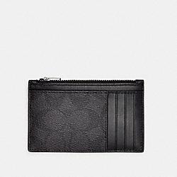 ZIP CARD CASE IN SIGNATURE CANVAS - C4281 - QB/BLACK BLACK