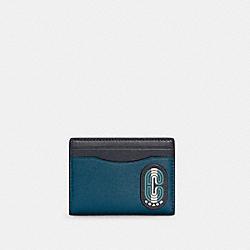 COACH C4285 - MAGNETIC CARD CASE IN COLORBLOCK WITH STRIPED COACH PATCH QB/MARINE MULTI