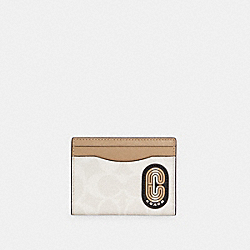 MAGNETIC CARD CASE IN COLORBLOCK SIGNATURE CANVAS WITH STRIPED COACH PATCH - C4286 - QB/CHALK MULTI