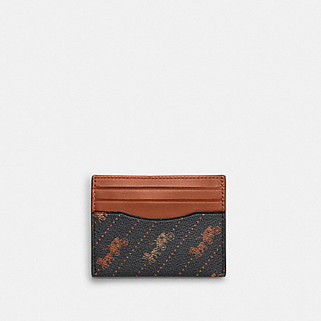 COACH C4287 SLIM ID CARD CASE WITH HORSE AND CARRIAGE DOT PRINT QB/BLACK-MULTI